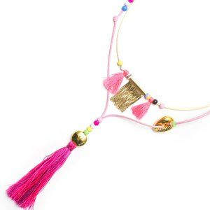 Hipanema Pink Chappy Necklace Cowrie Shell Tassel